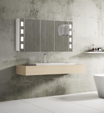 Kúpeľňová zrkadlová skrinka s LED osvetlením Florenz, 120 cm, 3 dvierka, luxusný kúpeľňový nábytok a led zrkadlové skrinky za najlepšiu cenu | www.zrkadloveskrinky.eu