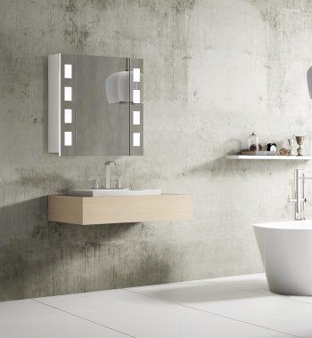 Kúpeľňové zrkadlo s led osvetlením Florenz, 60 cm, 1 dvieka, led zrkadlá a kúpeľňové skrinky za najlepšiu cenu | www.zrkadloveskrinky.eu