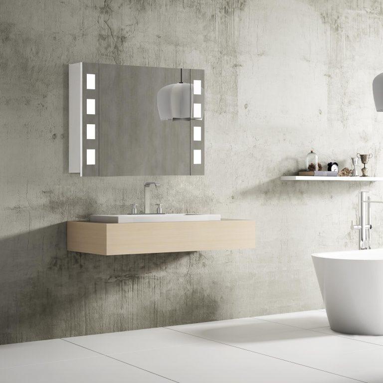 Zrkadlová skrinka s LED osvetlením Florenz, 80 cm, 1 dvierka, zrkadlové skrinky a kúpeľňový nábytok za najlepšiu cenu | www.zrkadloveskrinky.eu