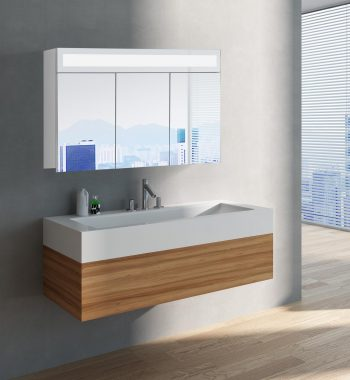 Luxusná kúpeľňová skrinka Miami, 100 cm, 3 dvere, moderné zrkadlové skrinky a moderný kúpeľňový nábytok, zrkadlová skrinka s LED osvetlením | www.zrkadloveskrinky.eu