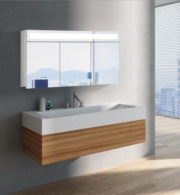 Luxusná kúpeľňová skrinka Miami, 120 cm, 3 dvere, moderná zrkadlová skrinka, luxusný kúpeľňový nábytok za najlepšiu cenu| www.zrkadloveskrinky.eu