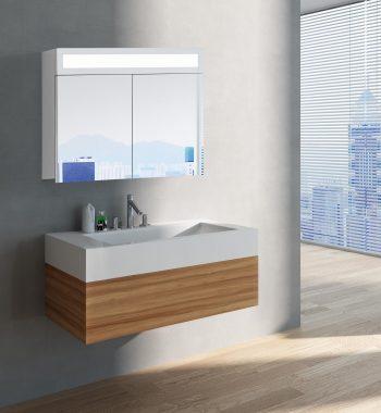 Luxusná kúpeľňová skrinka Miami, 80 cm, otvorená, moderná kúpelňa, moderný kúpeľnový nábytok, zrkadlová skrinka s LED osvetlením | www.zrkadloveskrinky.eu