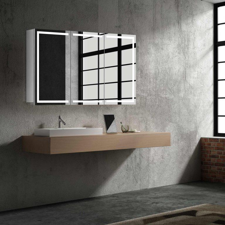Luxusná zrkadlová skrinka Milano, 100 cm, otvorená, 3 dvere, moderný kúpeľňový nábytok, zrkadlová skrinka s LED osvetlením | www.zrkadloveskrinky.eu