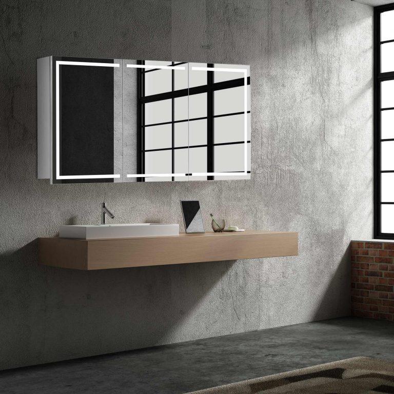 Luxusná zrkadlová skrinka Milano, 120 cm, luxusný a moderný kúpeľňový nábytok, zrkadlová skrinka s LED osvetlením | www.zrkadloveskrinky.eu