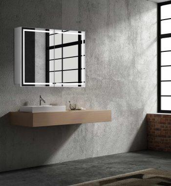 LED zrkadlo do kúpeľne, moderná zrkadlová skrinka Milano, 80 cm, otvorená, moderná kúpeľňa, LED zrkadlo, skrinka s osvetlením na stene | www.zrkadloveskrinky.eu