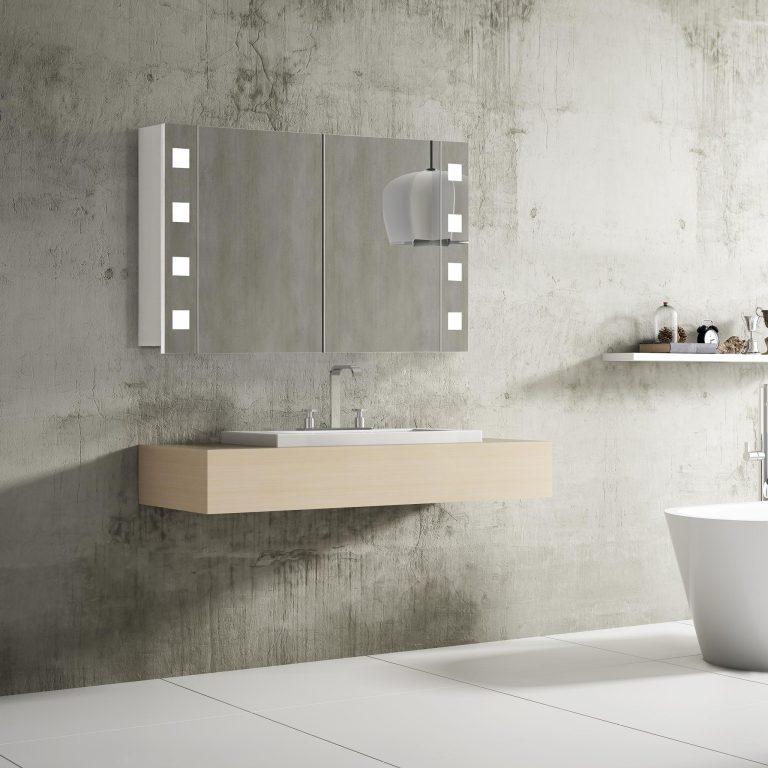Moderné zrkadlo do kúpeľne Rimini, 100 cm, 2 otvorené dvierka, moderná zrkadlová skrinka do kúpeľne s LED osvetlením, kúpeľňový nábytok a LED zrkadlové skrinky za najlepšiu cenu | www.zrkadloveskrinky.eu