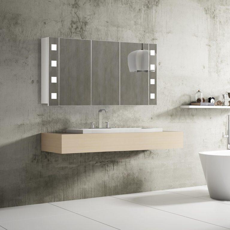 Moderné kúpeľňové zrkadlo s LED osvetlením Rimini, 120 cm, 3 dvierka, luxusný kúpeľňový nábytok a LED zrkadlové skrinky za najlepšiu cenu | www.zrkadloveskrinky.eu