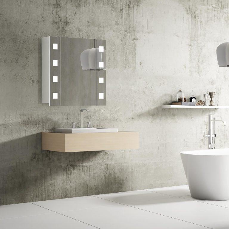 Luxusné kúpeľňové zrkadlo s LED osvetlením Rimini, 60 cm, otvorená, 1 dvierka, moderný kúpeľňový nábytok a led zrkadlové skrinky za najlepšiu cenu | www.zrkadloveskrinky.eu