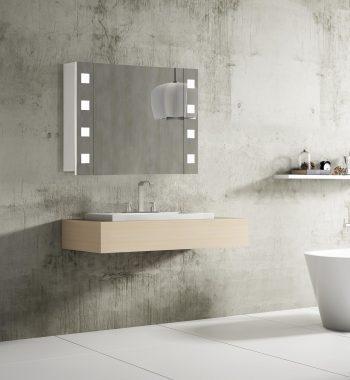 Moderné kúpeľňové zrkadlo s LED osvetlením Rimini, 80 cm, otvorená, 1 dvierka, luxusný kúpeľnový nábytok a LED zrkadlové skrinky za najlepšiu cenu | www.zrkadloveskrinky.eu