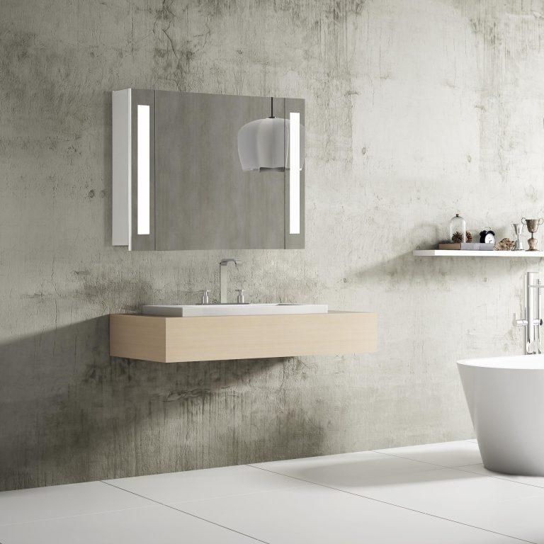 Kúpeľňová skrinka so zrkadlom Venedig, 80 cm, 1 dvierka, moderná zrkadlová skrinka do kúpeľne, kvalitné led osvetlenie, nemecký dizajn za najlepšiu cenu | www.zrkadloveskrinky.eu
